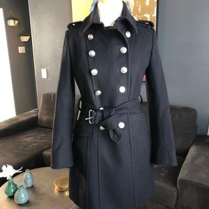 Laundry wool coat with silver crest buttons.
